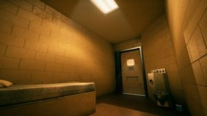 A virtual reality prison solitary confinement room in a training scenario created by Ottawa-based company SimWave for the forensic psychiatry program at St. Joseph's Healthcare in Hamilton. (COURTESY OF SIMWAVE)