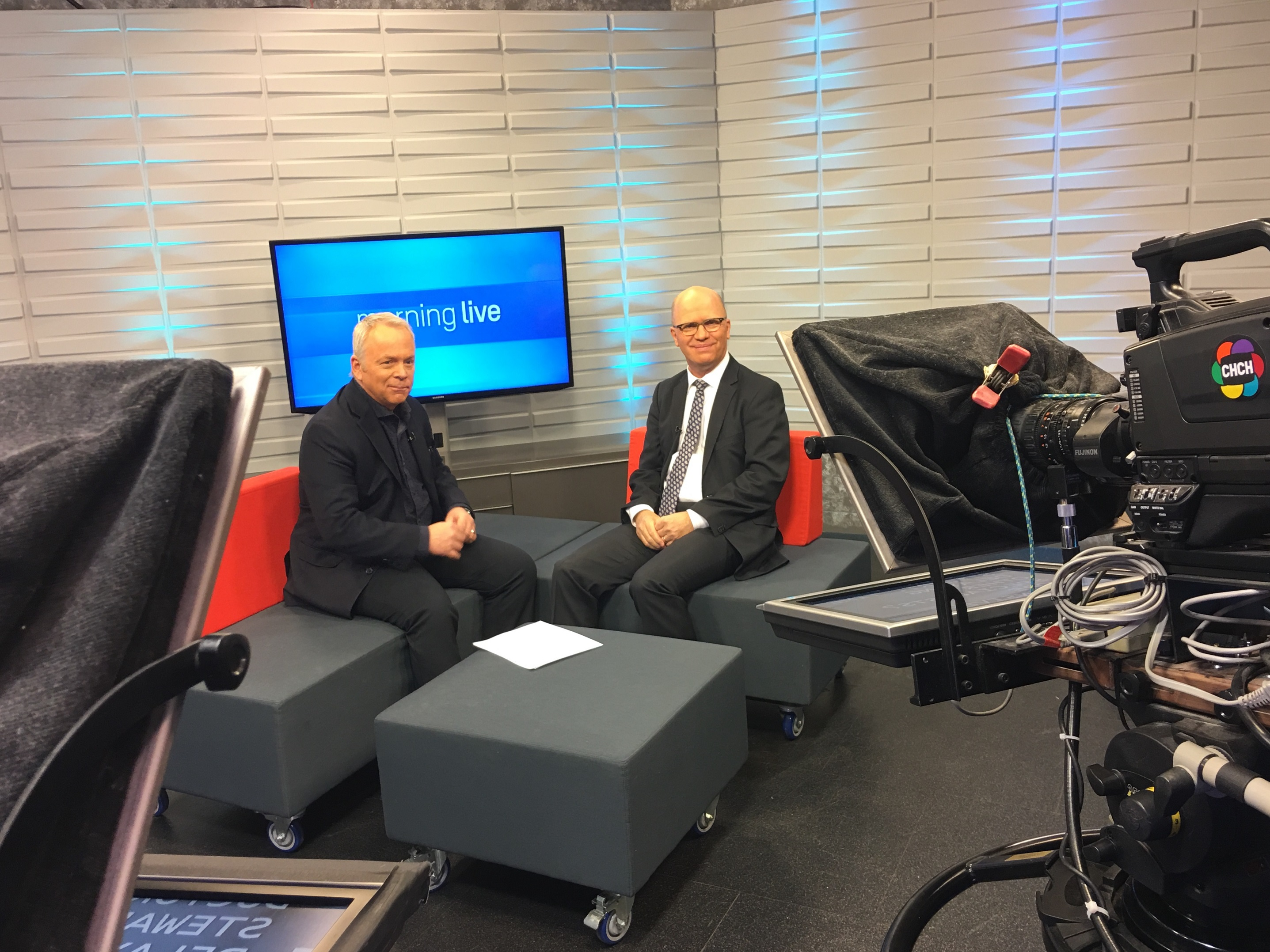 Dr. Tom Stewart, President & CEO of St. Joseph's Health System and Bob Cowan, host of CH Morning Live.