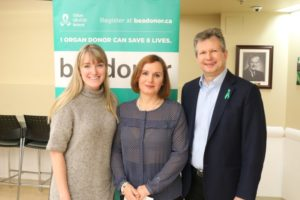 From left are Carly Blair, Corina Tiriba and Dr. Frank Reinders. Dr. Reinders and Carly co-chair the St. Mary's Organ and Tissue Donation Committee