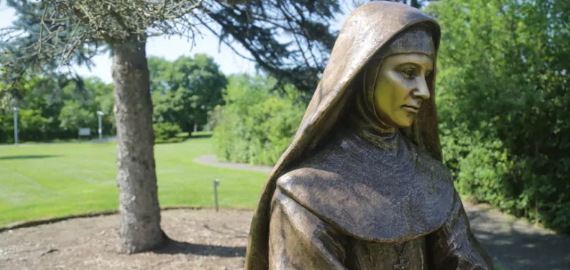 A statue of Mother Mary Martha Von Bunning sits outside the Sisters of St. Joseph motherhouse in Dundas. Von Bunning was still in her twenties when she founded the Hamilton order. She died in her 40s. (Samantha Craggs/CBC)